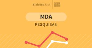 Todas as pesquisas eleitorais do MDA de intenção de voto para presidente em 2018. Compare Lula, Bolsonaro, Alckmin, Marina Silva, Ciro Gomes e os principais candidatos que podem chegar às urnas na eleição de outubro