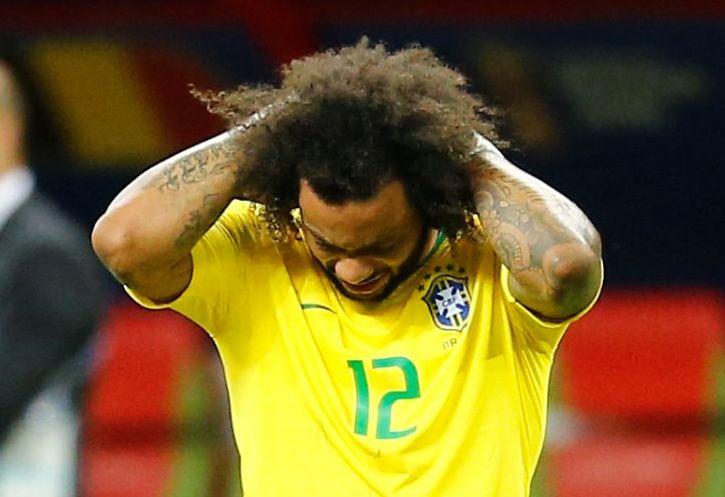 Marcelo lamenta eliminação do Brasil para a Bélgica. Foto: Jonathan Campos/Gazeta do Povo