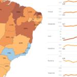 Mapa e gráfico de evolução de homicídios no Brasil