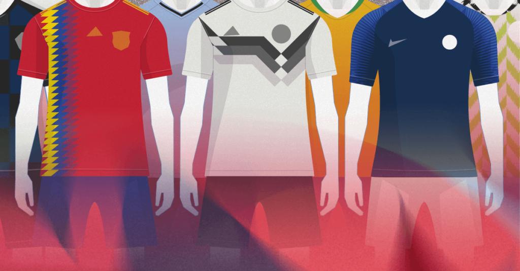 As cores das camisas da Copa 2018