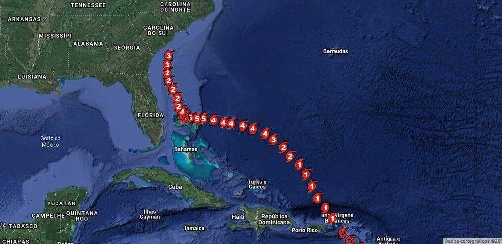Trajeto do furacão Dorian (2019) desviando a Flórida